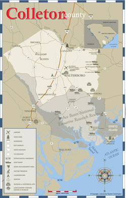 Colleton County Area Map including Walterboro