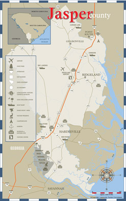 Jasper County Area Map including Hardeeville & Ridgeland