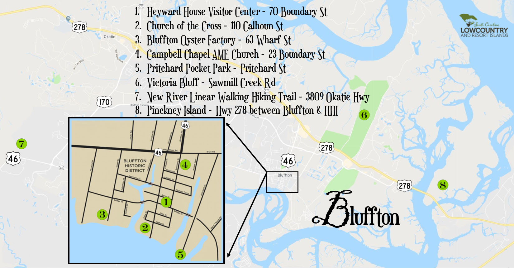 Bluffton Attractions Map
