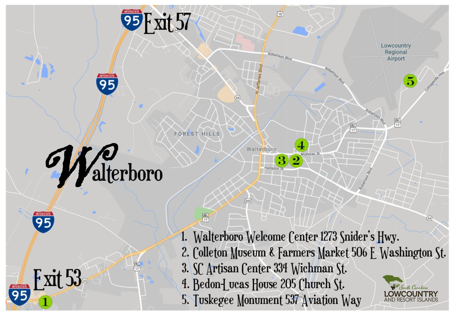Walterboro Attractions map
