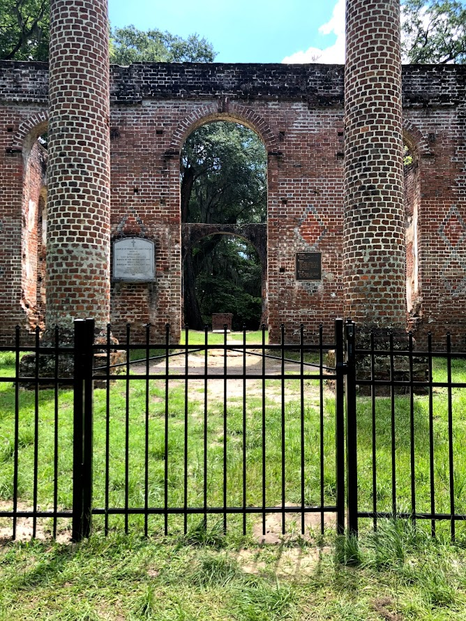 Old Sheldon Church Ruins gated for protection