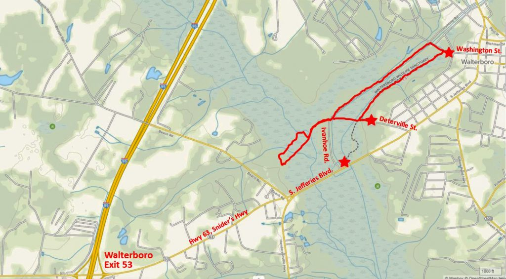 Map of the Walterboro Wildlife Sanctuary