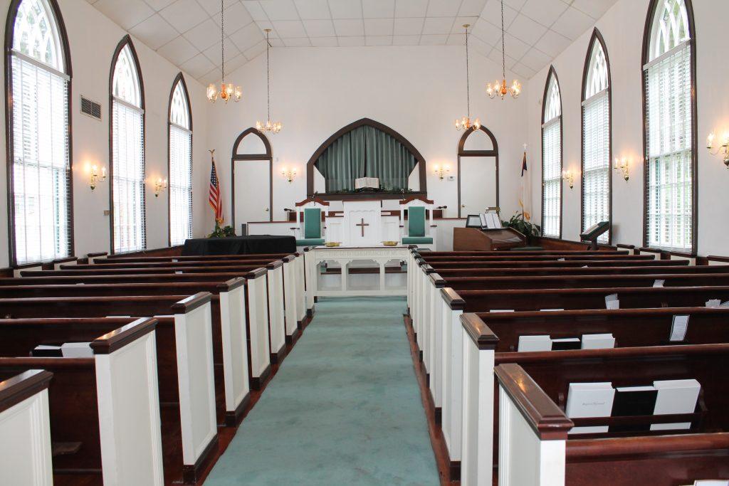 Interior of Robertville Baptist Church