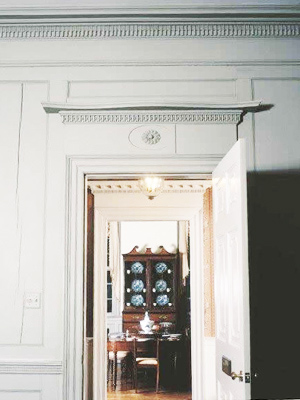 hand carved moldings in interior of house