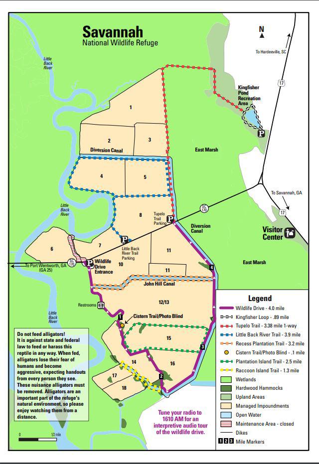 Savannah National Wildlife Refuge trail map