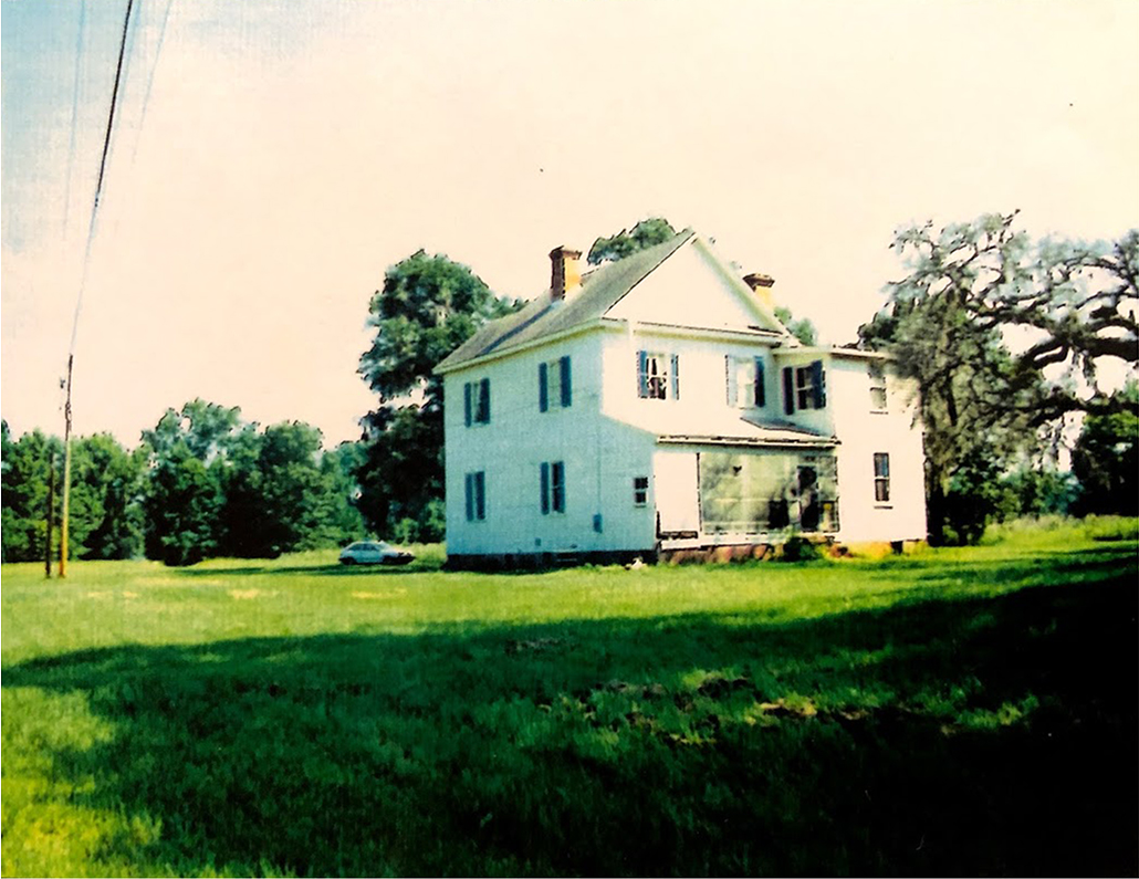 Exterior view of the back of the Frampton Plantation House