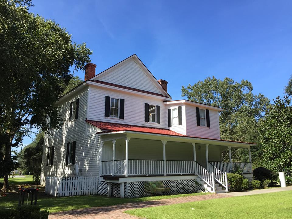 Exterior view of Frampton Plantation House showing the porch that was added during renovations.